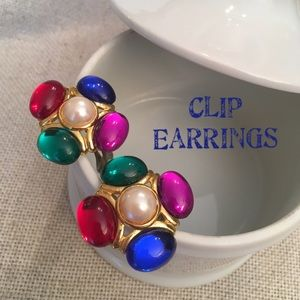 VTG Cabochon Jelly Belly Gem Clip Earring 1980's